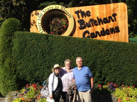 Friends at the Famous Butchart Gardens